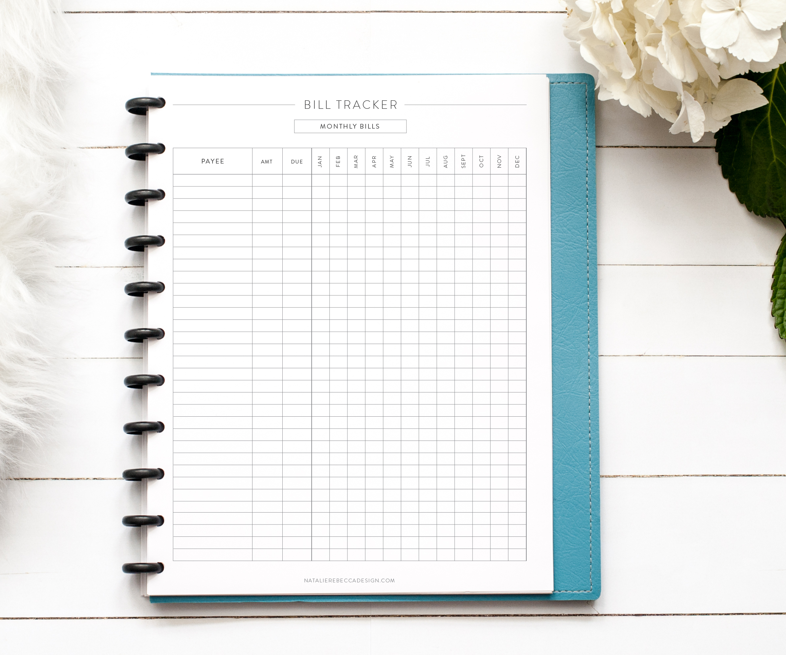 picture regarding Free Printable Bill Tracker referred to as Monthly bill Tracker (Totally free Printable) - Natalie Rebecca Layout